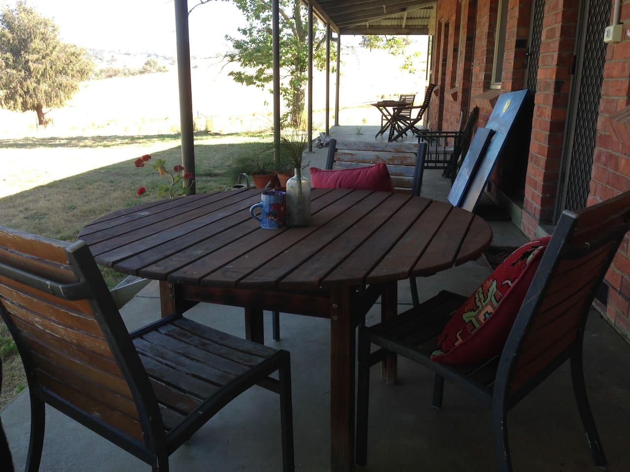 Sunset drinks on the verandah