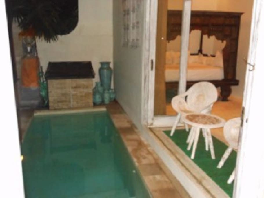 deep plunge pool with access into 2nd bedroom, great for cooling off at the end of the day!