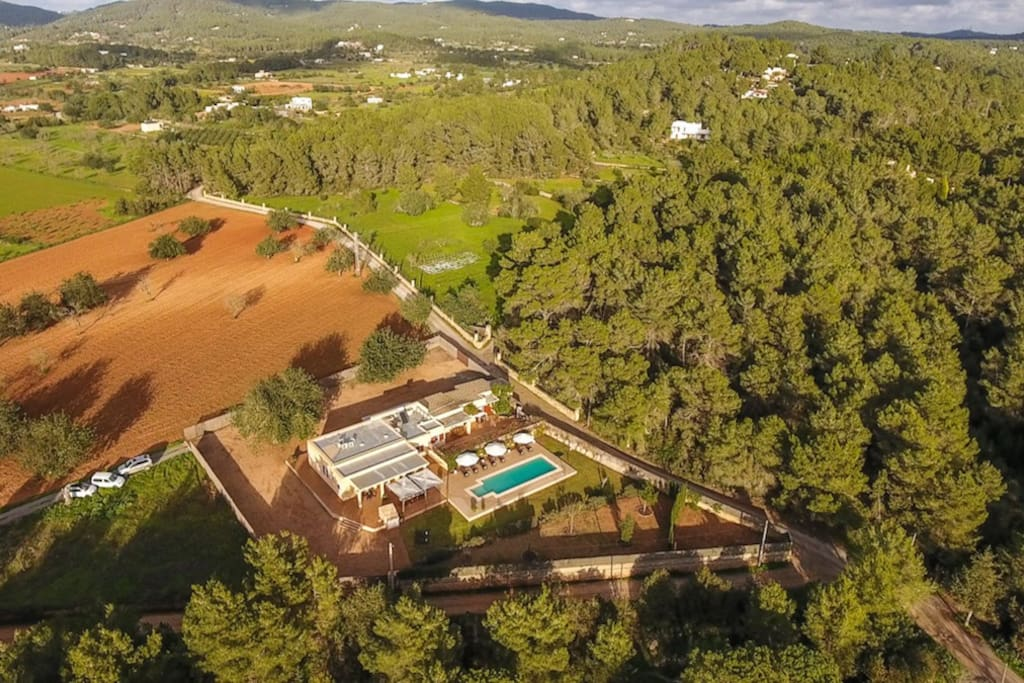 Aerial view of our luxurious private villa in the blissful nature