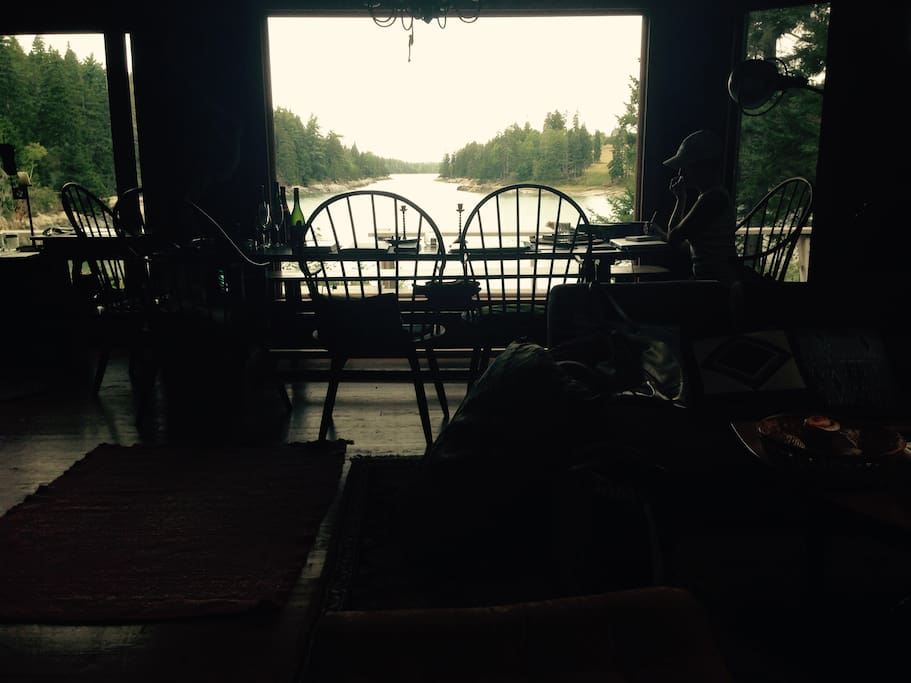 View of the view from behind dining table