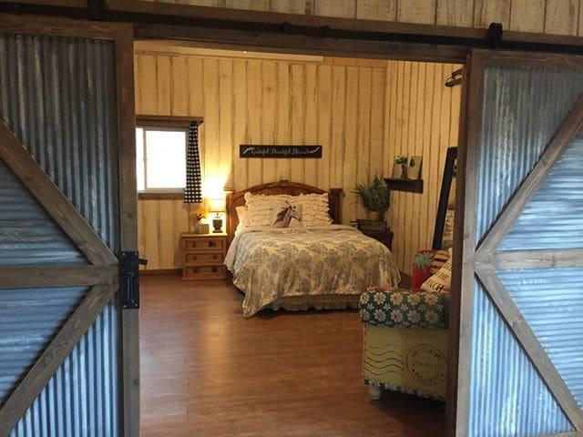 Master bedroom with full bathroom