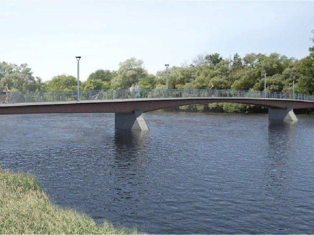 Nearby foot bridge over Rideau River that goes to Ottawa University and downtown.