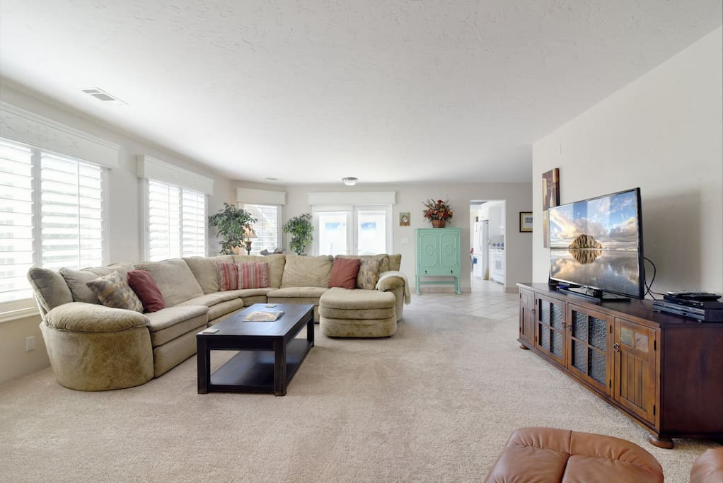 The large living area is perfect for hanging out with friends and family