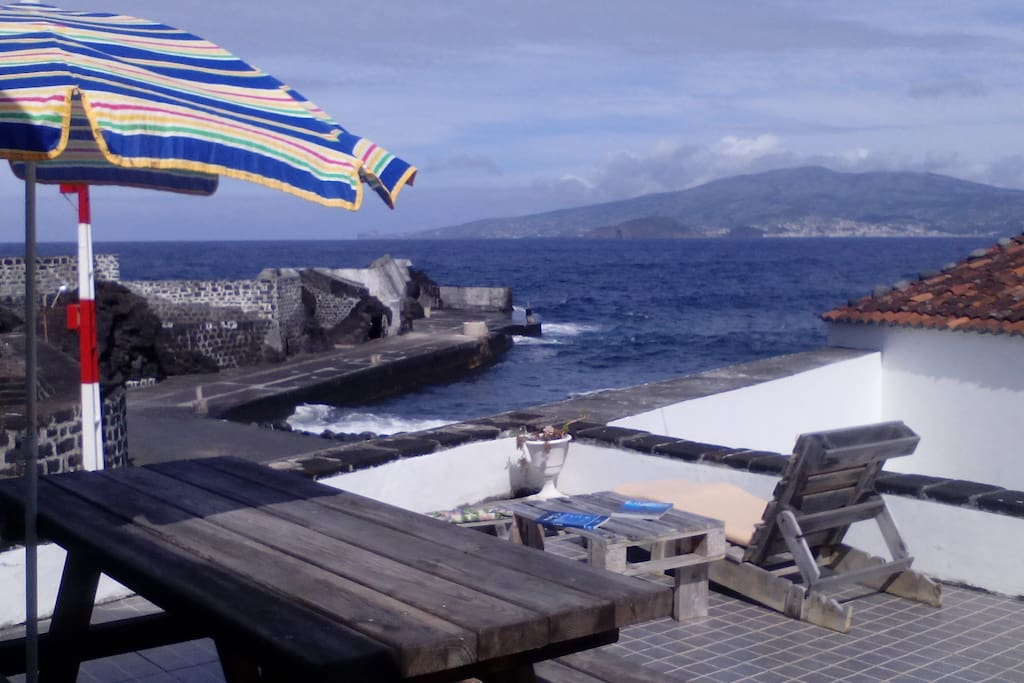The terrace,The view to Faial Island from up on the terrace,enjoy your dinner or sunset