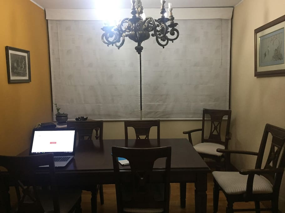 Dinner Room: we have a lovely maid that cleans all (but not your room because we want to keep privacy) and cook 3 times a week! she is very good you have to try peruvian food ! best cuisine in all over the world 4 years in a row, we can share the food that she makes, mostly dinners