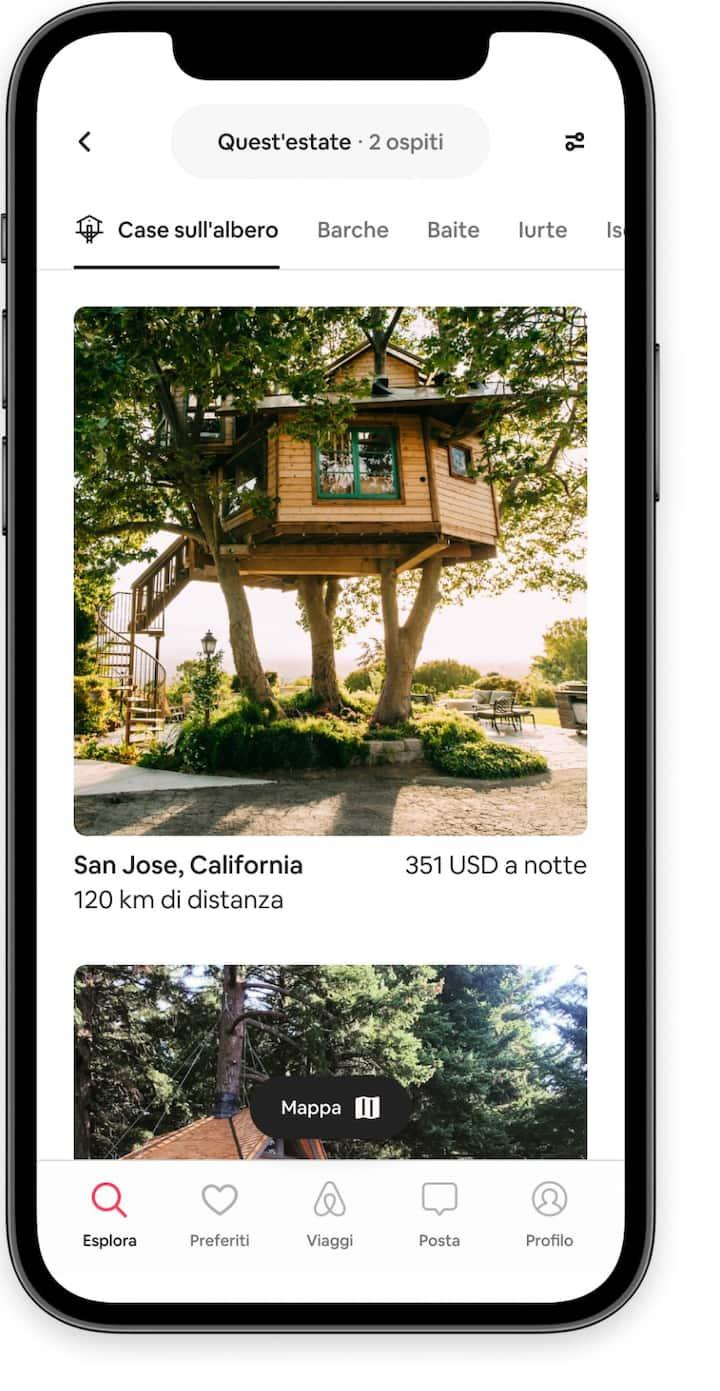Sfoglia gli annunci per case sull'albero nell'app di Airbnb.