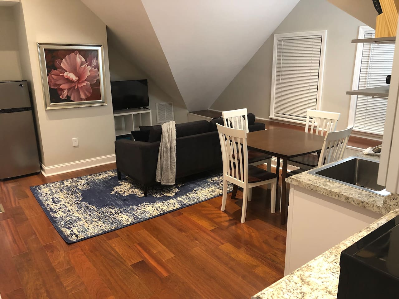Living & Dining room with vaulted ceiling