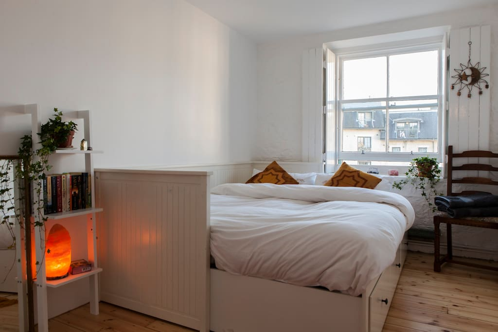 Your bright and airy room with wooden shutters. Kings Size Bed