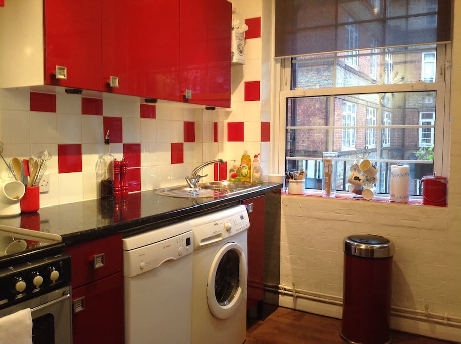 Fitted kitchen with usual cooking amenities and dishwasher