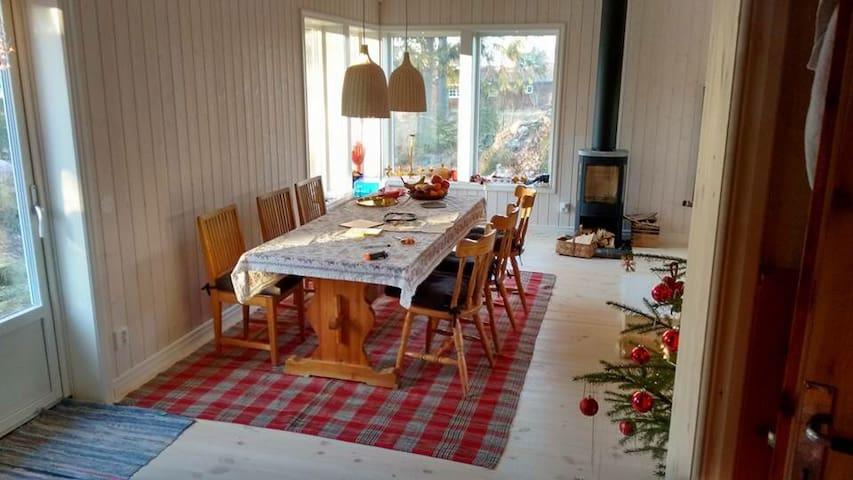 vardagsrum med kamin och matplats