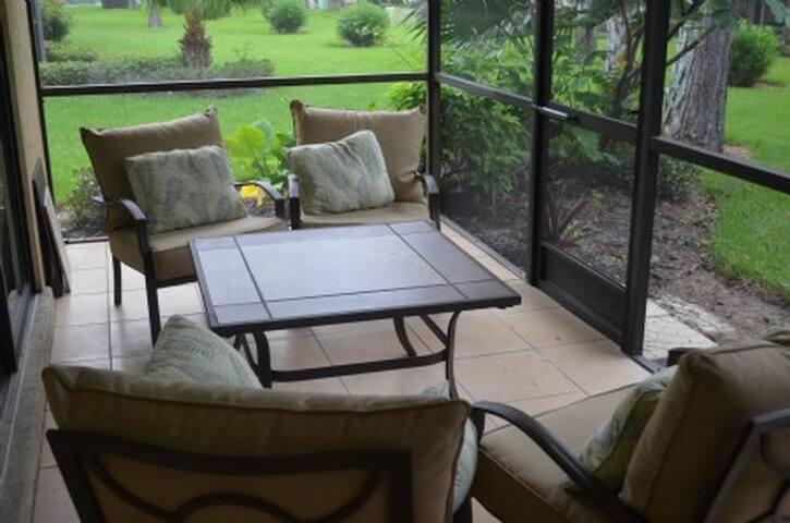 The comfy lanai (screened porch)