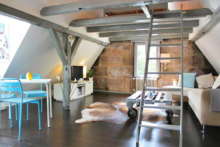 Dach-Studio in Sandsteinhaus, idyllisch & zentral