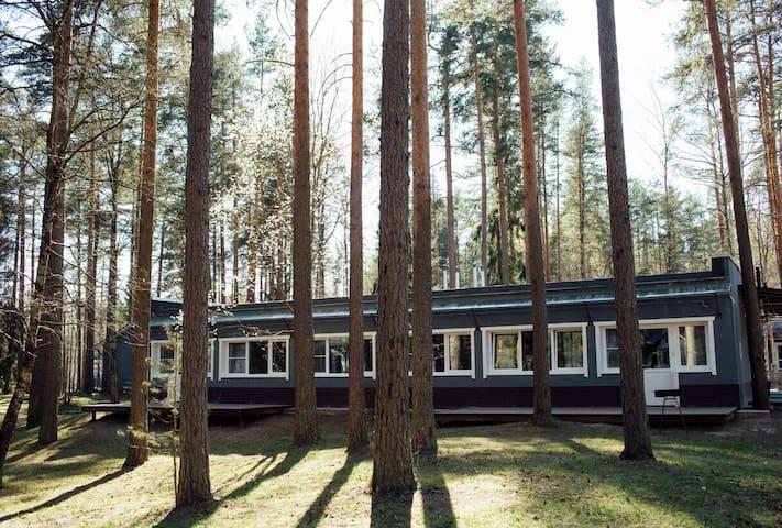 Таунхаус с 2 спальнями в сосновом лесу.