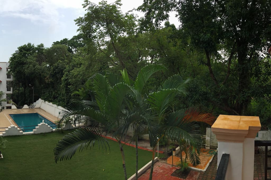 View from balcony facing pool