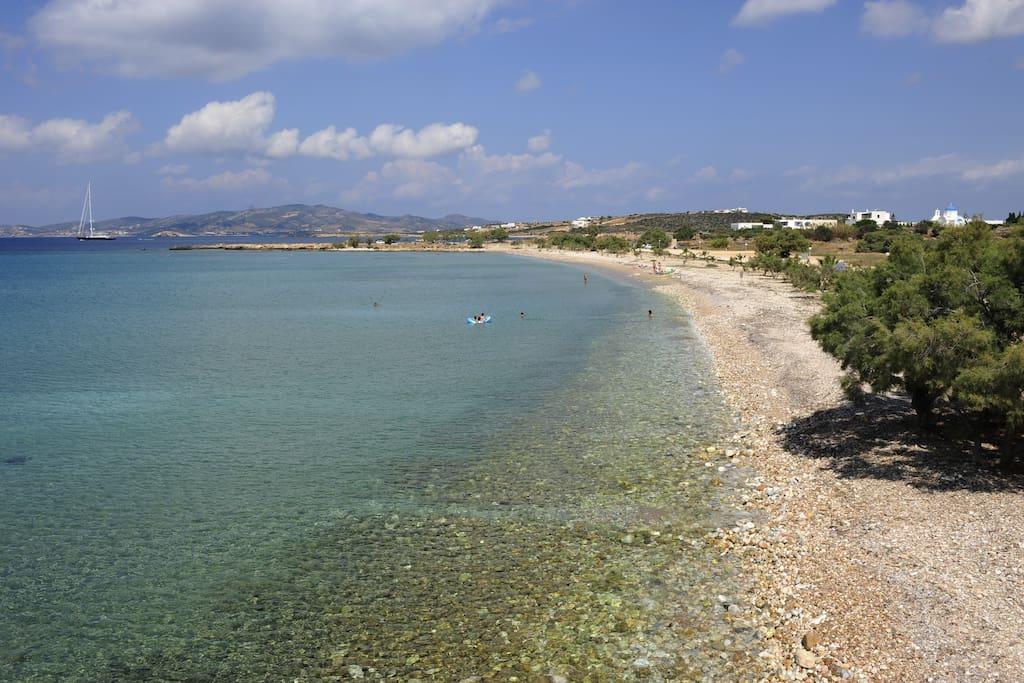 The beach of Pisso Aliki 70m. away