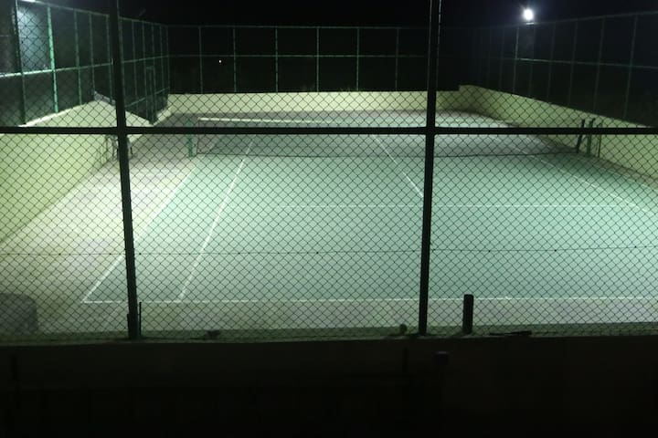 tennis court at night