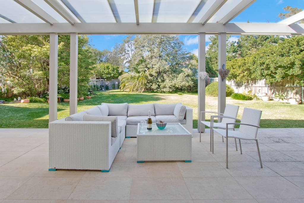 Outdoor furniture and the fully fenced garden