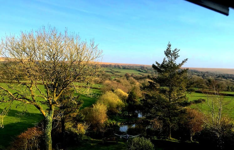 Stunning scenery of gardens, duck pond, fields and Dartmoor beyond.