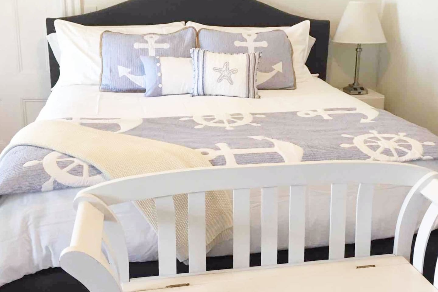 Float Away in this Super comfy King Size Bed with Beautiful Seaside Bedding