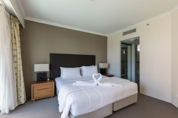The master bedroom with king split double bed