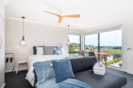 Room designed by Cocoon Design Penguin. You can enjoy breakfast in own room with view of Penguin and Bass Strait.