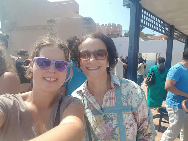 Walking around the Medina with one of my guests.