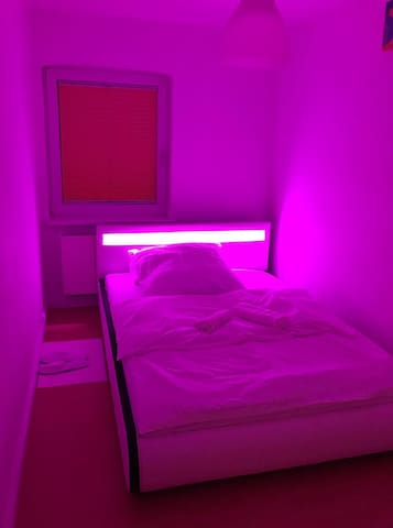 This bed is really conformable and LED lights can be operated by remote control.