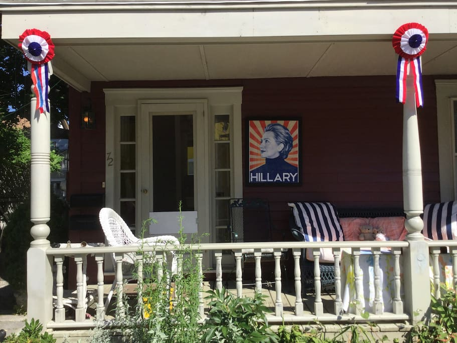 Front porch now open for talk of politics,art, and who's wearing what...