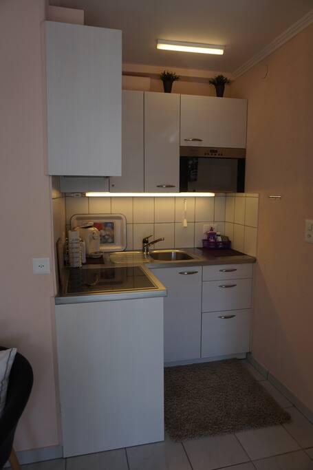 Küche, voll ausgestattet, mit Herd, Mikrowelle,Kühl schrank,Kaffee maschine etc.