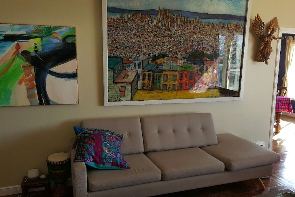 Beautiful art collection. Shown here in Living Room.