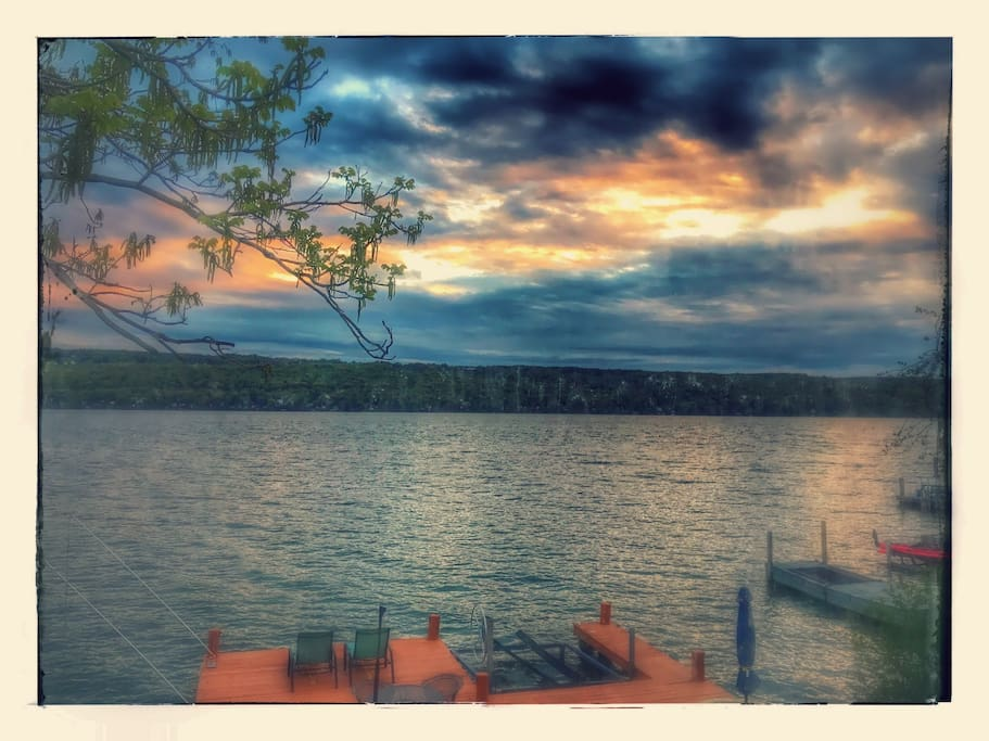 This photo of Cayuga Lake was taken from the picture window in the living room.