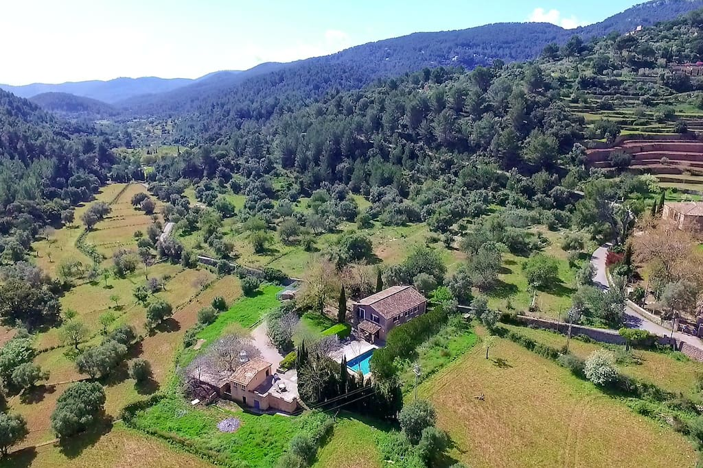 Spectacular aerial view of Es Pouet finca with no close-by neighbors.