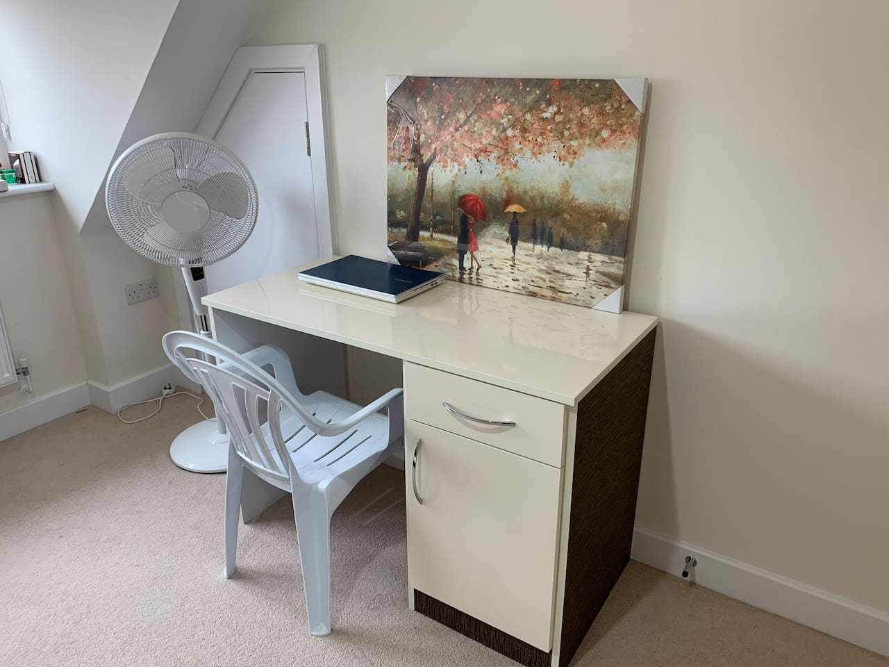 Ivory Glossy Work Table with Chair and Fan