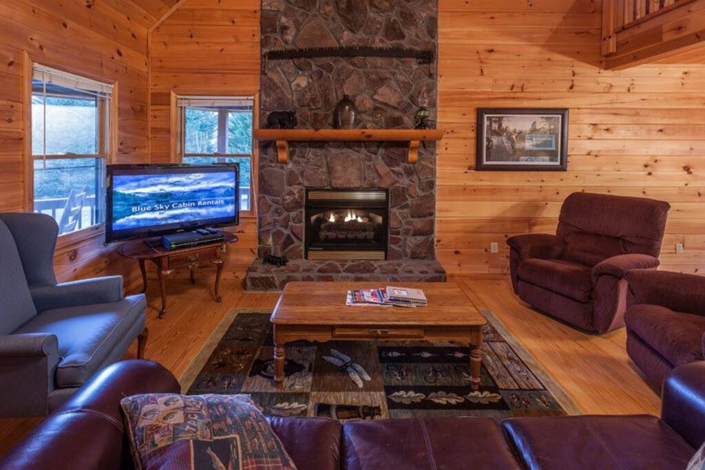 The Great Room with a gas fireplace and 42 inch flat screen TV