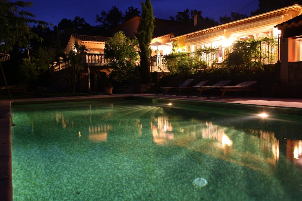 The pool & house at night