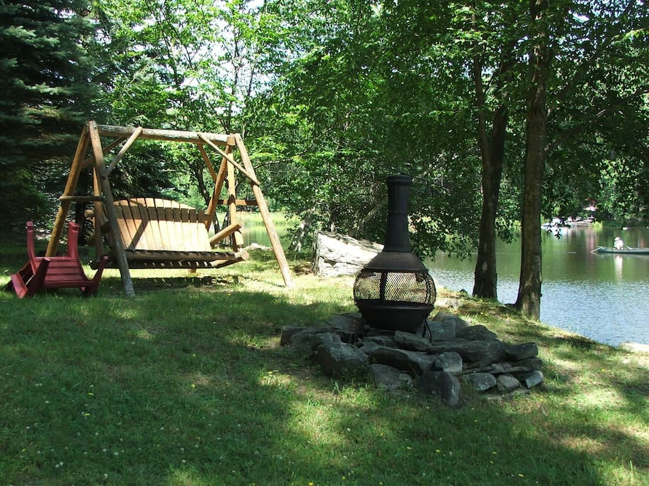 Chair Swing & Fire Pit by the Lake