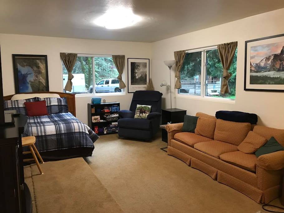 Room 1 - Large family room with comfy full-size bed, recliner chair, couch/sofabed, television/dvd, electric heater, and large closet.  Free Wifi, Netflix, and Roku.