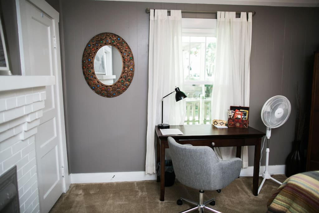 Workspace located in private bedroom