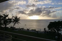 Getting ready to watch sunset at ocean front yard.