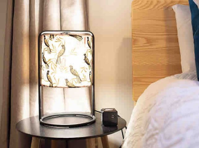 Every bedside table features a USB/power charger.