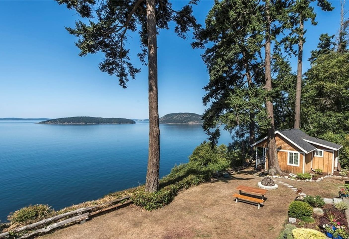 Overview of cabin and Salish Sea