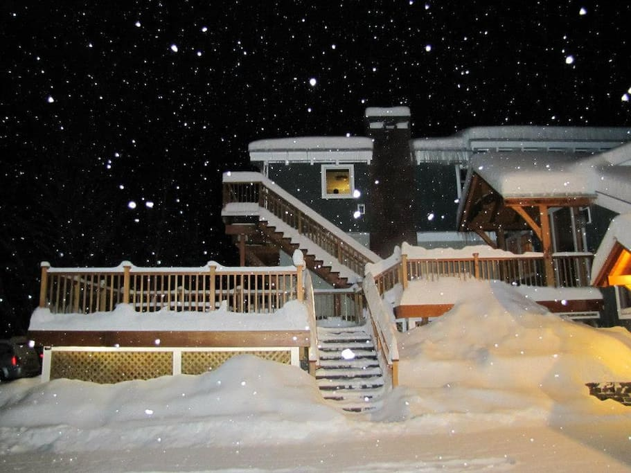 Main Lodge Hot Tub deck with lots of snow!