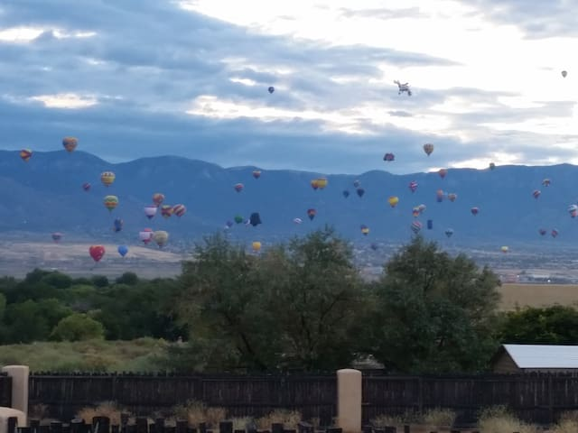 Balloon Fiesta view from casita - no need to fight traffic