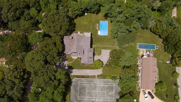 New Listing: Views of Peconic Bay, Access to Secluded Beach, Lots of Glass and Light