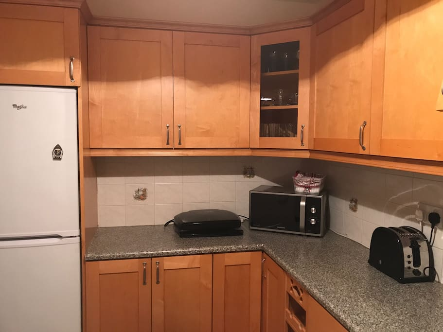 Kitchen includes fridge, microwave, George Foreman grill, toaster ...