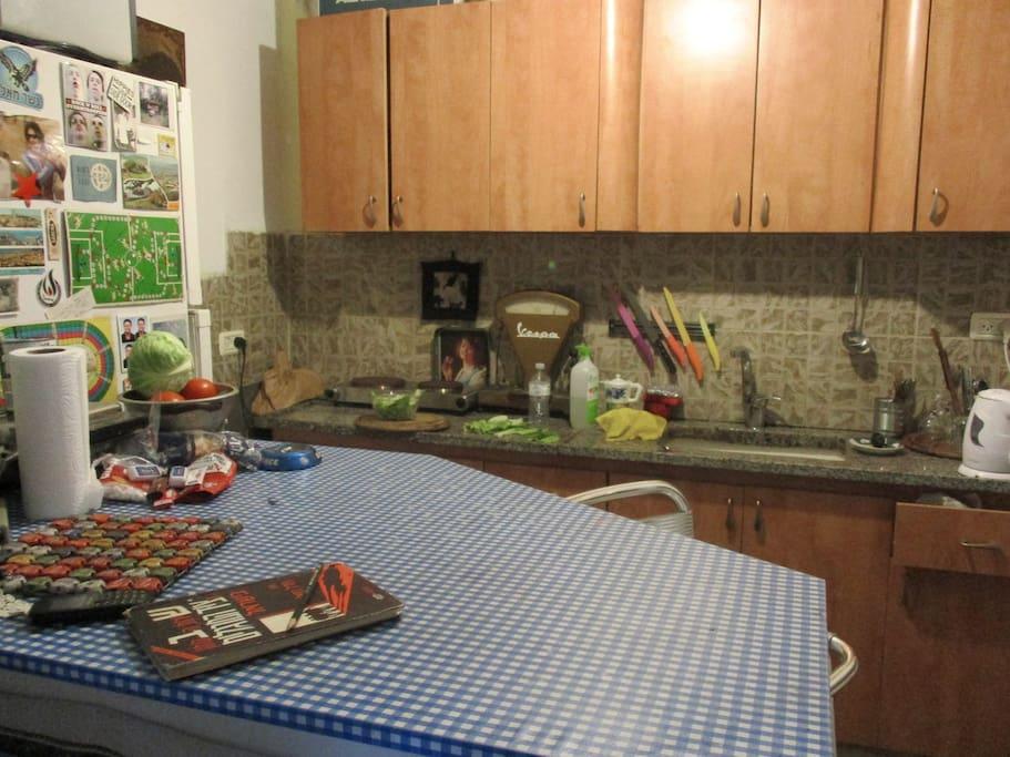 american kitchen. electric cooker, kettle, fridge etc