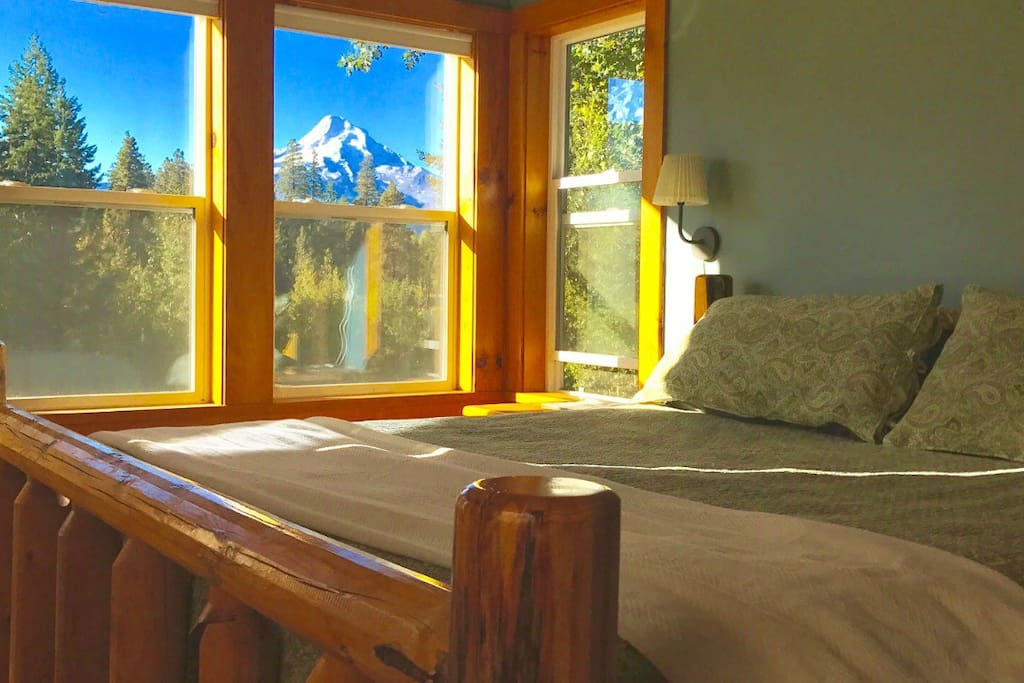 Master bedroom with stunning views of Mt Hood