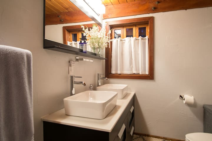 Downstairs full bath with double sinks.