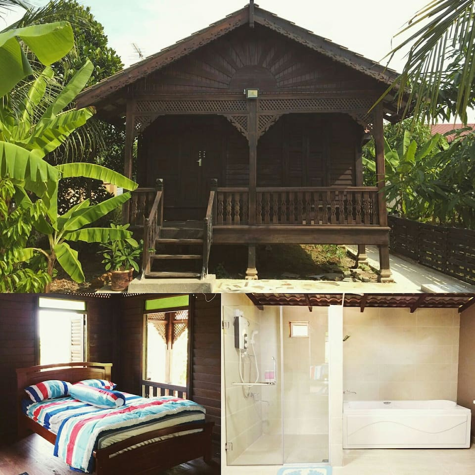 Private chalet with long bath in Kampong setting next to padi field