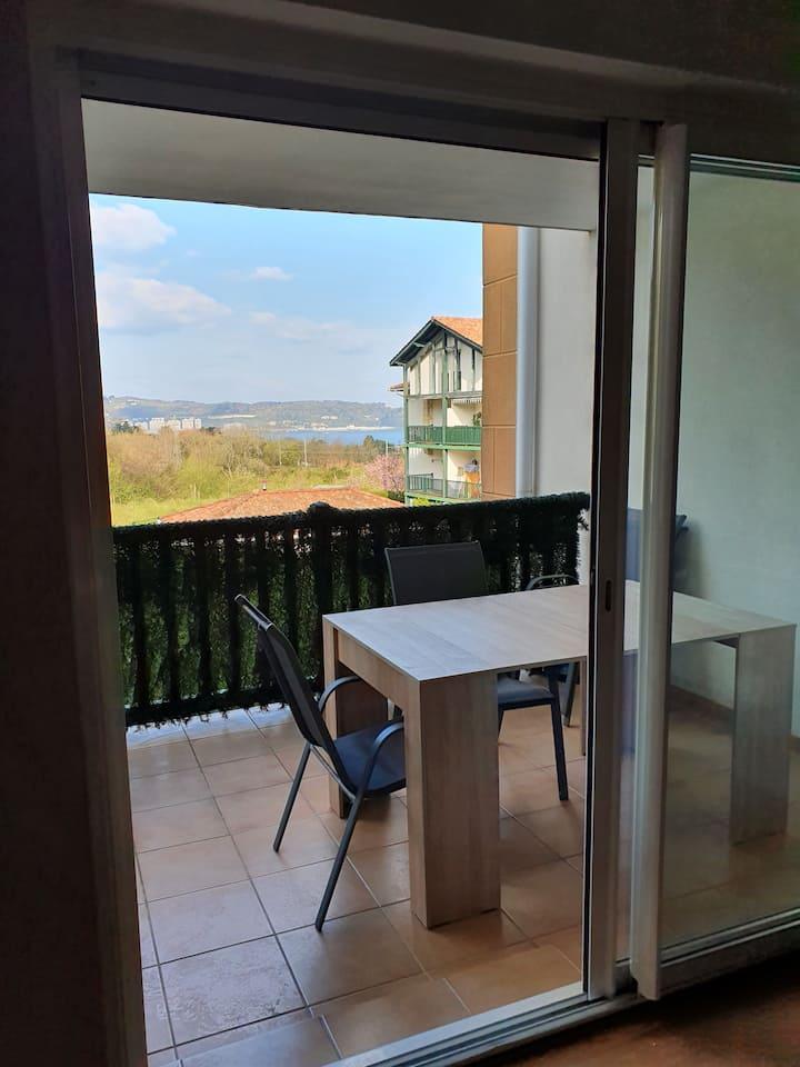 Joli T3, piscine et parking avec vue sur l'océan